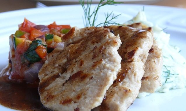 Goody Foody chicken style, ratatatouille vegetables and mashed potatoes with fresh dill