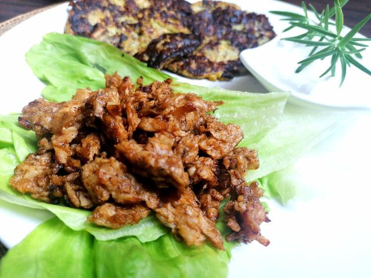 vegetarian, cuketove placky bez muky, vegan gyros kebab
